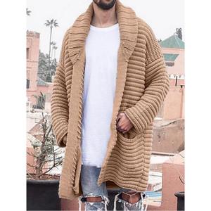Fjun 2021 hiver Hommes cardigan pull manteau tricoté longueur moyenne longueur manches longues poche solide épaisseur épais pull chaud chandail manteaux occasionnels