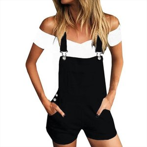 Shorts Womens Shorts Loose Denim Bib Hole Pants Overalls Short Pants Cotton Women 2020