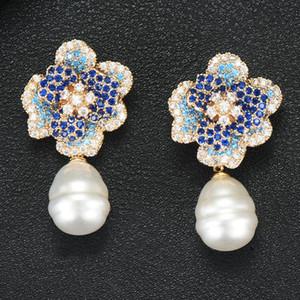 Stud Godki 2021 Blume Charms Frauen Ohrringe Trendy Cubic Zirkon Nachahmung Pearl Ohrring für Zubehör