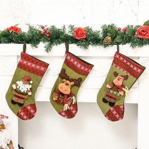 Amazon despiece calcetines de la Navidad Bolsa de regalo Decoración de Navidad Gran Viejo Elk calcetines caramelo colgantes EEOd #