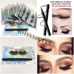 5D Vizon Kirpikleri 25mm Kendinden yapışkanlı Eyeliner Tutkal Tam Hacim Yanlış Eyelashes Göz Makyajı Yumuşak Uzun 3D Vizon Eyelashes ile Sahte Vizon Kirpikler