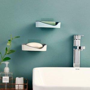 Seife Rack Kein Bohrwand montiert Doppelschicht Seifenhalter Seife Sponge Dish Badezimmer Zubehör Geschirr Selbstkleber q jlljzr