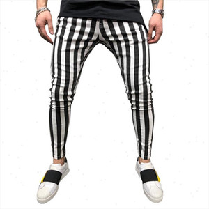 2021 Black and White Stripes Mens Joggers Casual Pants Fitness Men Sportswear Tracksuit Bottoms Skinny Sweatpants Trousers