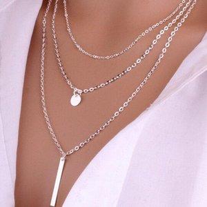 트렌디 한 멀티 계층 체인 목걸이 골드 실버 컬러 스틱 펜던트 목걸이 여성 숙녀 빈티지 보석 선물