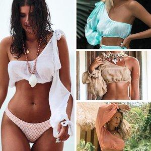 2020 New Bikini Cover-Up Beach-Dress Long-Sleeve Gossamer Female One-Shoulder Bandage Cover Up Beach Woman Beachwear