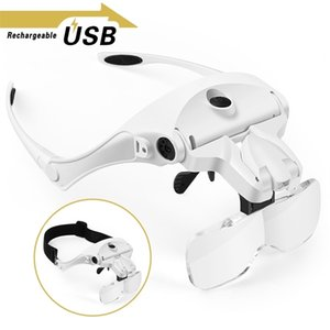 Magnifying Glasses, Rechargeable LED Light Lamp Head Loupe Headband Magnifier Eyewear Glasses Tool Repair Reading Magnifier T200521