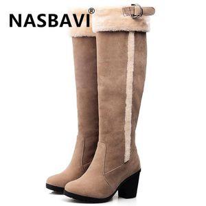 NASBAVI new Women Boots Female Winter Shoes Woman Warm Snow Boots Fashion round head High Heels knee high belt buckle