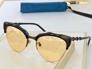 Nova Moda Design Mulher Óculos de Sol 0661 Cat-Eye Half Frame Bamboo Forma Design Quadro Top Qualidade Popular Estilo UV 400 Lente Eyewear