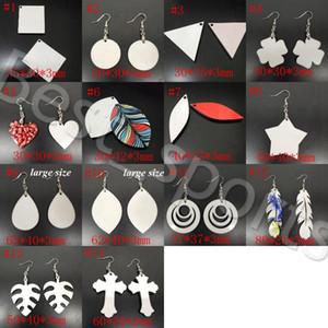 14 styles blanc sublimation sublimation Boucles d'oreilles à double face feuilles Boucle d'oreille forme eardrop avec un cadeau de boucle d'oreille bricolage parti faveur YYA493-1