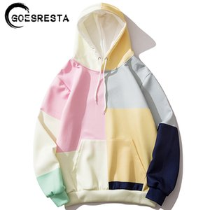 Goesresta Hip Hop Hoodies Men Oversized Streetwear Multi-Color Stitching Casual Sweatshirt Pullover Autumn Men Hooded Sweatshirt 201020
