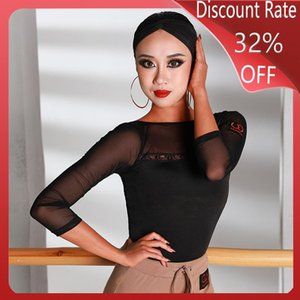 New Latin Dance Tops For Women Black Long Sleeve Salsa Dress Ballroom Latin Dance Competition Dresses Performance Clothes DQS3511