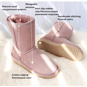G&Zaco Luxury Women sheep Genuine Sheepskin Snow leather wool shoes Fur Classic Female Winter Suede boots Y200115