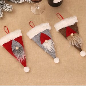 new Christmas decoration ornament Tableware bags for Knife and Fork Christmas Hat Cutlery cover Party Supplies 3style T2I51680