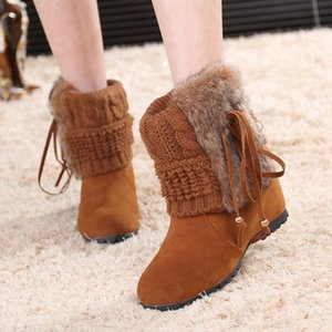 Fashion autumn and winter women's boots 2020 hairy flat bottom increased women's shoes short tube wool mouth snow boots popular