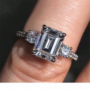 Emerald cut 4ct Lab Diamond Ring 100% Original 925 sterling silver Engagement Wedding band Rings for Women Party Jewelry