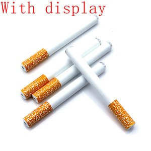 wholesale Cigarette Metal Pipe one Hitter Bat Hand Tobacco Smoking pipes Smoking Herb Filter Pipes tobacco Holder 78mm 55mm with display