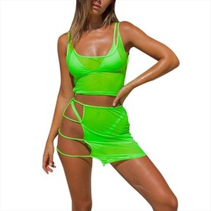 Transparent Mesh Two Piece Sets Casual Beach Outfits Sexy Hollow Out Bodycon Mini Skirt Crop Tops
