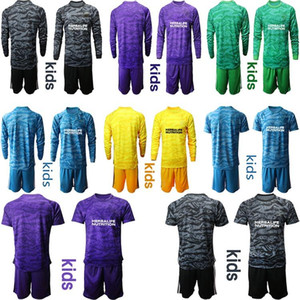 Kids 2020 2021 LA Glaxy Goalkeeper football Jersey Long sleeve shirt Little Kids football shirts Kids kit sets uniform Childrens soccer jers