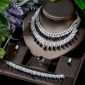 Hibride Exclusive Kolye Küpe Yüzük Bilezik Seti Kadınlar Gelin Aksesuarları Hediyeler CZ Düğün Süs Collier Mariage N-866
