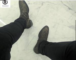 2020 New autumn men booties zip up Boots sequin leather Ankle Boots Men's glitter black leopard Boots