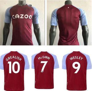 Aston Player Version Soccer Jerseys 2020 21 Aston Villa Home Grealish M. Trezeguet Wesley El Ghazi Hourihane Douglas Luiz McGinn