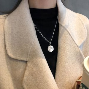 S925 Sterling Silver Retro Letter Round Necklace Women's Versatile Net Red Temperament Left with Asymmetric Sweater Chain Short