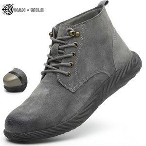 Mens Work Boots Fashion Outdoor Steel Toe Cow Leather Steel Toe Shoes Men Anti Slip Puncture Proof Safety Shoes Boot Man 201222