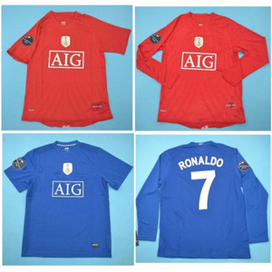 톱 08 09 manchester united Ronaldo Retro Jerseys 클래식 빈티지 MAN UTD Scholes 축구 유니폼 2009 루니 축구 셔츠 Giggs Maillot 드 발
