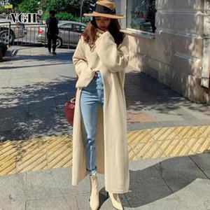 VGH 여성의 목 긴 소매 스웨터, 높은 허리, 비대칭, 두께, 2020
