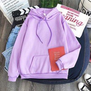 New light purple hoodie Korean style loose fitting top Winter Women s Hoodies Full Sleeve Hoodie Sweatshirt Solid color hoodie