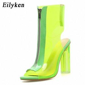 Eillken Летние сапоги Сандалии ПВХ прозрачный гладиатор Сексуальные Peep Toe Обувь чистые Chunky Caels Женщины Boots Boots Сандалии Обувь # 8H5A