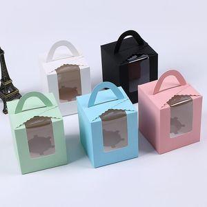 Одно кекс коробки с Clear Window Ручка Портативный Macaron Mousse Cake Закуска Box Бумажный пакет Box Birthday Party Поставка SEA WAY FWF2699