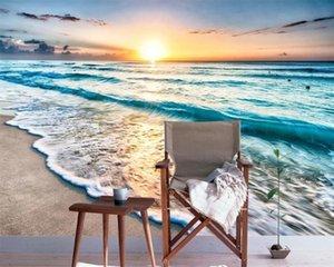 Özel Fotoğraf 3d duvar kağıdı Duvar kağıdı Beautiful Beach Blue Wave Romantik Manzara Dekoratif İpek Duvar Duvar kağıdı 3d