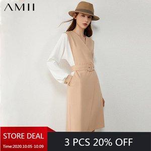 AMII minimalismus herbst mode olstyle frauen kleid spleiß vneck hohe taille gürtel frauen kleid knee länge weiblich 12030436