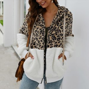 Puimentiua Women Winter Coat Top Long Sleeve Hooded Autumn Warm Jacket Outwear Casual Fashion Leopard Tops Coat Hot Sale S XL
