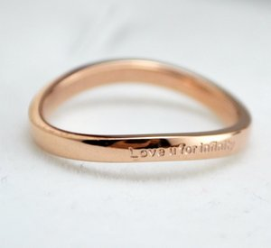 Hot sale 316L Titanium steel punk band ring with Love u for infinity words wedding hip hop jewelry gift free shipping PS5446