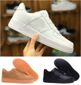 Top Quality 2021 Forças Homens Baixa Skate Tênis Barato Um Unisex 1 Knit Euro Air High Women All White Black Red Leather Trainer Sneaker