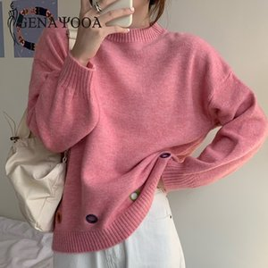 Genayooa Casual Pink Pullover Sweater Women Long Sleeve O Neck Hollow Out Knitted Jumper Ladies Warm Solid Tops Female Korean 0929