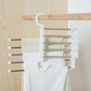 5 Layers Multi Functional Clothes Hangers Pant Storage Cloth Rack Trousers Hanging Shelf Non-slip Clothing Organizer Storage Rack OWB2095
