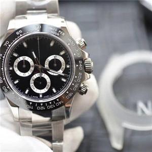 최고 품질 남성 40mm 시계 쿼츠 자동 시계 강철 팔찌 세라믹 베젤 사파이어 116500 116520 데이토나Cosmograph 다이빙 N50Q #