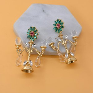 High-endBaroque Crystal Chandelier Fashion Vintage Earrings Exaggerated Ear Ornaments Retro Long Drop Earring