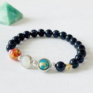 best top newest Natural stone galaxy universe sun, moon, earth beads bracelet for Men Women Jewelry