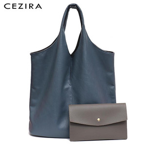 CEZIRA Fashion Shoulder PU Women Ladies For Two Vegan Leather Tote Design Colors Reversible Individual Femal Hobo Coin Purse Bag Iiueg
