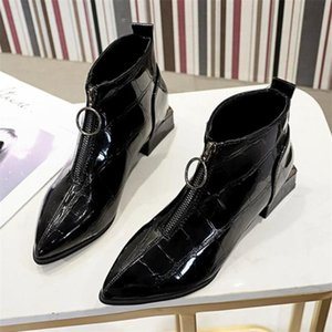 LYXLYH New Fashion Women Martin Boots Pointed Thick Front Zipper Women Boots Spring Autumn Thick Heel Y648