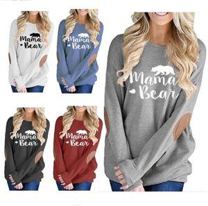 Otoño blusa de las mujeres Mama Oso impresión de la letra camiseta de manga larga codo Patch Jerséis Camisetas Batwing Diseño blusas Tops sudaderas 9style