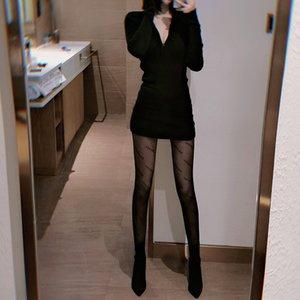 Lettre féminine sexy soik peluche automne hiver filet rouge noir bas boissons panyphoses faux viande jk chaussettes mode