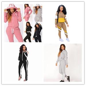 Hırka Kapüşonlu Kadın Eşofmanlar 2 Parça Setleri Uzun Kollu Şerit Bayan Hoodies Sweatpant Tops Rahat Artı Boyutu Bayan Spor 2 adet Giyim