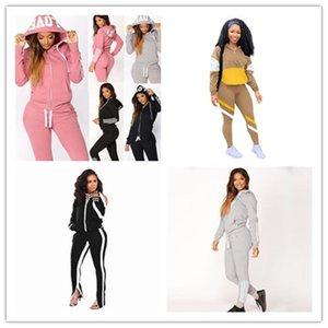 Cardigan mit Kapuze Frauen Trainingsanzüge 2 Stück Sets Langarm Stripe Womens Hoodies Tops Joggypant Beiläufige Plus Größe Womens Sport 2PC Kleidung