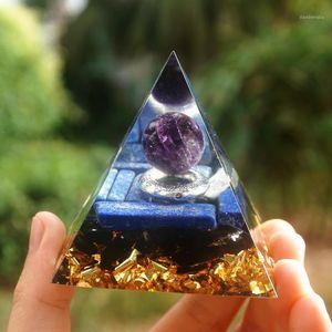 Hecho a mano Amatista Esfera de cristal Orgone Pyramid con anillo de plata Obsidian Orgone 60mm1