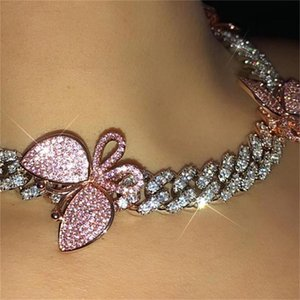 Cadeia GLAMing rosa cubana Fazer a ligação Colar Gargantilha borboleta cristal Rhinestone gargantilhas colares para as mulheres ouro Collar Atacado